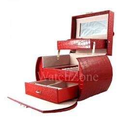 Caseta bijuterii piele ecologica rosie / visinie / neagra Magdalena WZ1701