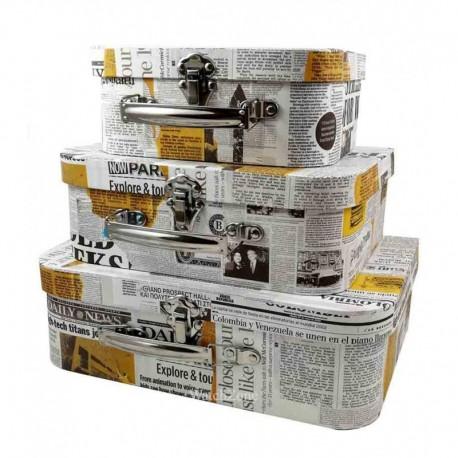 Cutie Pentru Depozitarea Bijuteriilor Set Trei Bucati NEWSPAPER WZ576