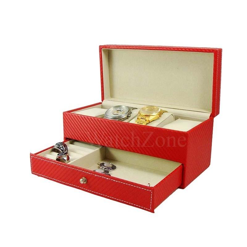 Cutie depozitare ceasuri si bijuterii Adele rosie / neagra CF-PU-26B imagine techstar.ro 2021
