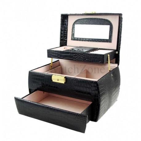 Caseta bijuterii eleganta neagra MARIE piele ecologica WZ1624
