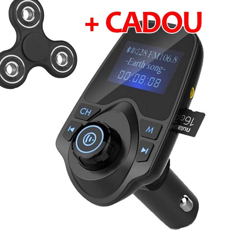 PROMO MODULATOR FM AUTO HANDS FREE T11 CU BLUETOOTH, CITIRE USB SI MICROSD MP3 PLAYER + Fidget Spinn