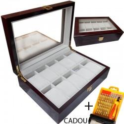 Cutie depozitare 10 ceasuri de mana Lemn + CADOU