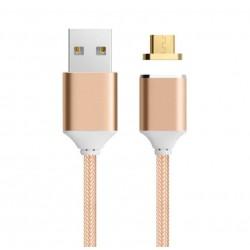 Cablu Micro USB de incarcare magnetic Auriu/Argintiu Impletit Nylon Extrem de Durabil pentru IPhone