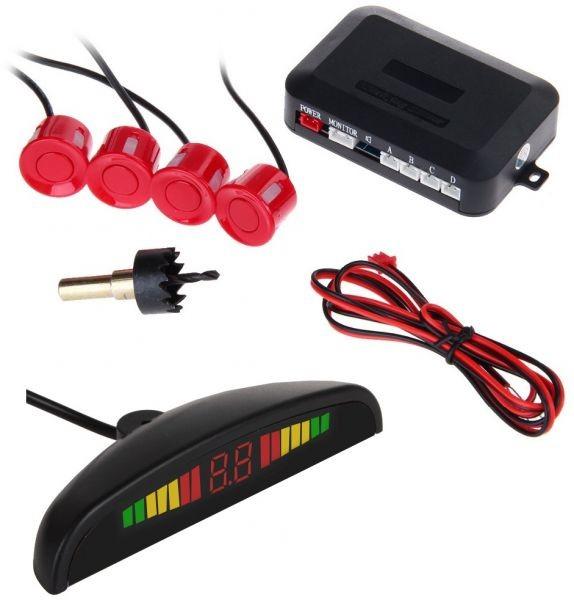Set Senzori parcare auto detector parktronic display radar monitor 4 senzori ROSU imagine techstar.ro 2021