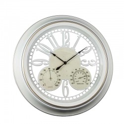 Ceas de Perete Alb cu Termometru si Higrometru WZ2050