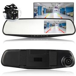 Camera Video Auto Discreta tip Oglinda cu Doua Camere Full HD Fata/Spate Allwinner L9000, Model Slim 9mm Grosime