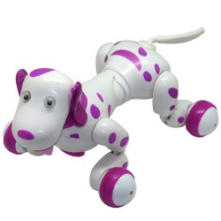 Robot Catel interactiv iUni Smart-Dog, 24 comenzi, Alb-Roz