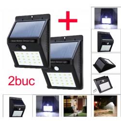 Set 2 bucati Lampa cu LED Incarcare Solara si Senzori de Miscare 20 Leduri
