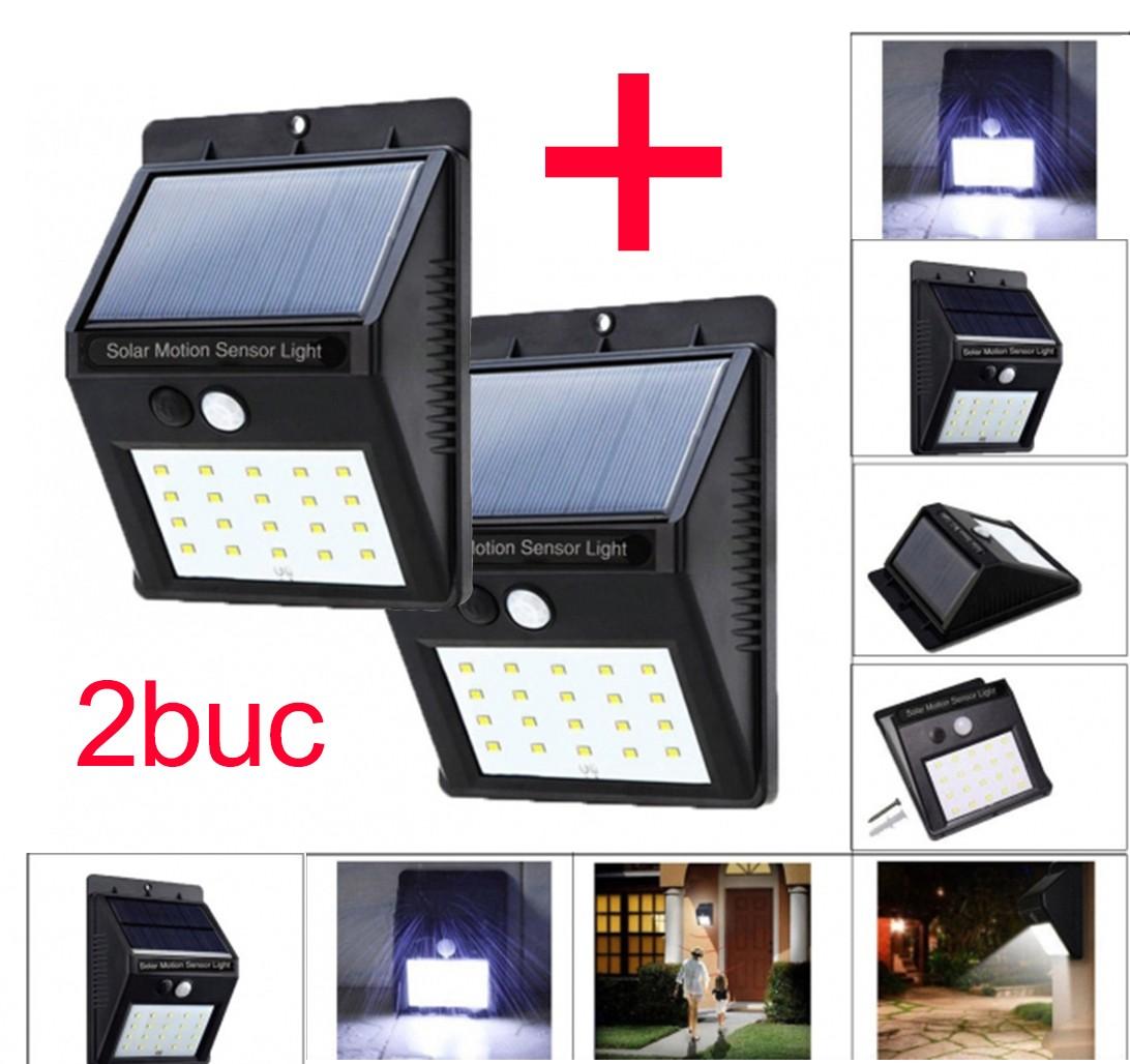 Set 2 bucati Lampa cu LED Incarcare Solara si Senzori de Miscare 20 Leduri imagine techstar.ro 2021