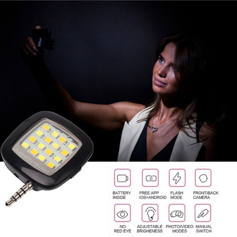 Blitz pentru telefon cu 16 LED-uri si 3 trepte de luminozitate imagine techstar.ro 2021