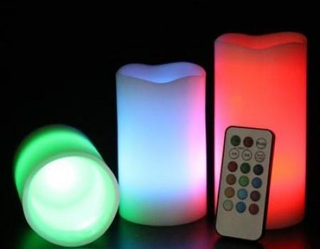 Set 3 lumanari ambientale cu LED RGB