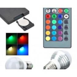 Bec multicolor (RGB) cu telecomanda