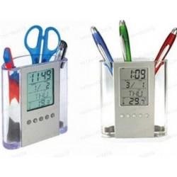 Suport de pixuri cu afisaj LCD pentru calendar, ceas si termometru
