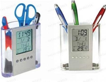 Suport de pixuri cu afisaj LCD pentru calendar, ceas si termometru poza 2021