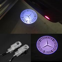 Set 2 Bucati Emblema Logo LED Portiera dedicata Marca Auto MERCEDES