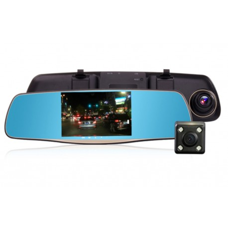 Oglinda Camera Video Auto L808 DVR FullHD Dubla cu Ecran 5 inchi Touch Screen si Unghi de 170°