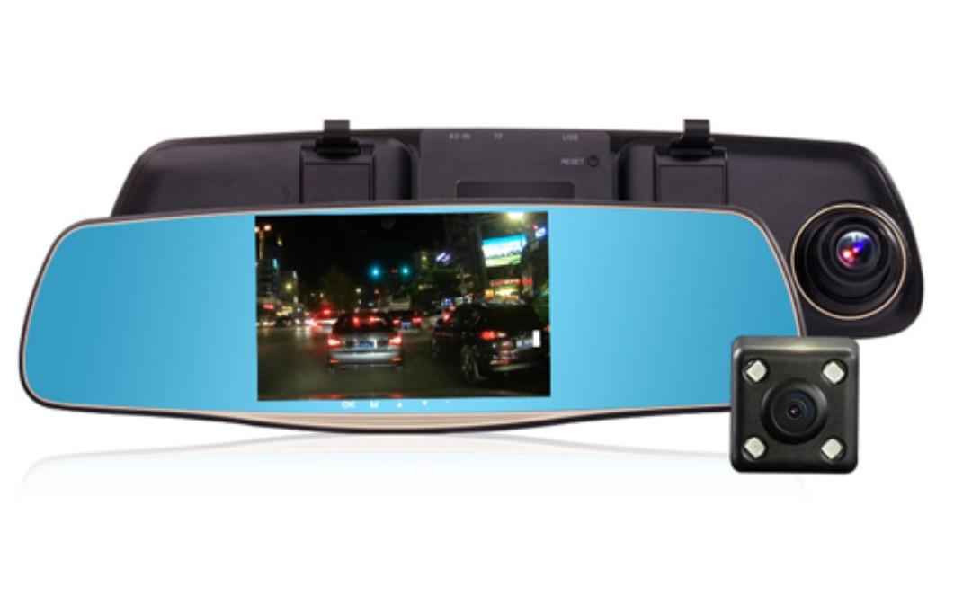 Oglinda Camera Video Auto L808 DVR FullHD Dubla cu Ecran 5 inchi Touch Screen si Unghi de 170deg;