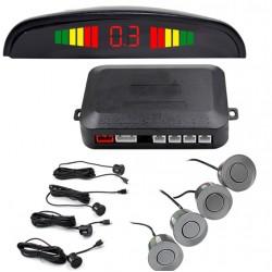 Set Senzori Parcare Auto Detector Parktronic Display Radar Monitor 4 Senzori GRI Inchis