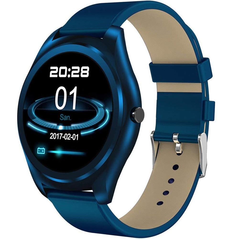 Ceas Smartwatch iUni N3 Plus, Curea Piele, BT, 1.3 Inch, IOS si Android, Blue imagine techstar.ro 2021
