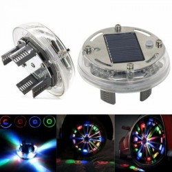 SET COMPLET 4 Capacele Jante Auto LED MULTICOLOR CU INCARCARE ENERGIE SOLARA TUNING