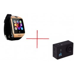 Set Promo Camera Sport SJ9000 + Smartwatch Q18 Auriu
