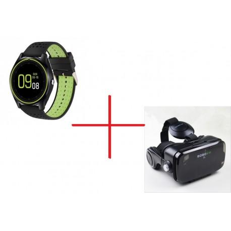 Set Promo Ochelari Virtuali VR-Z4 + Smartwatch MTK V9 Verde BT Camera
