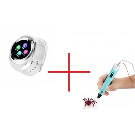 Set Promo Creion Stilou 3D + Smartwatch Y1 ALB