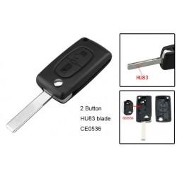 Carcasa cheie tip briceag pentru Peugeot, Citroen, 2 butoane