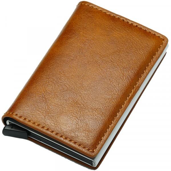 Portofel unisex, port card iUni P5, RFID, Compartiment 6 carduri, Maro ciocolatiu