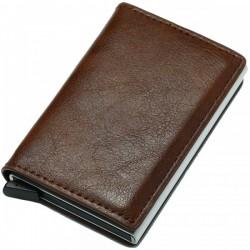Portofel unisex, port card iUni P1, RFID, Compartiment 6 carduri, Brun inchis