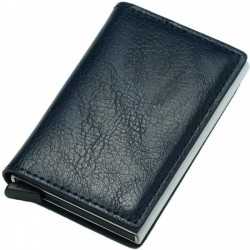 Portofel unisex, port card iUni P1, RFID, Compartiment 6 carduri, Bleumarin