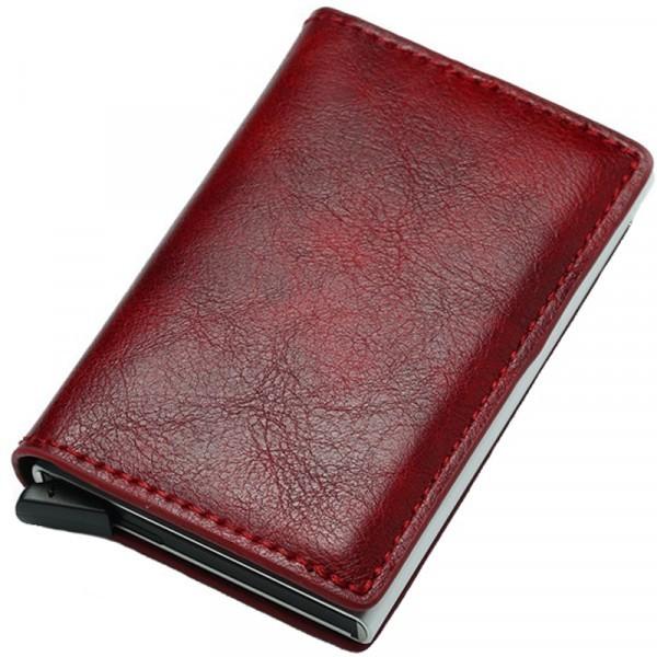 Portofel unisex, port card iUni P1, RFID, Compartiment 6 carduri, Rosu