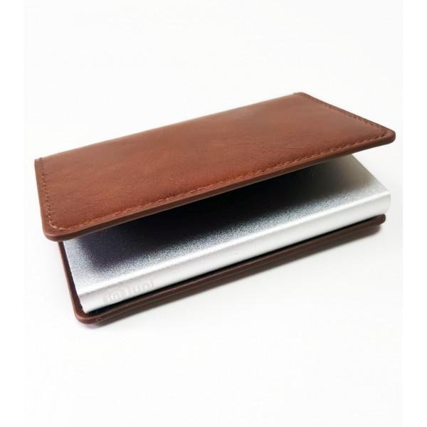 Portofel unisex, port card iUni P1, RFID, Compartiment 6 carduri, Maro inchis