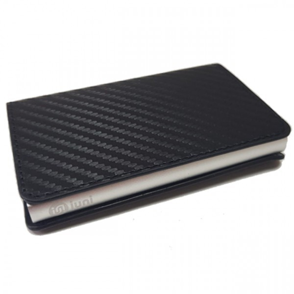 Portofel unisex, port card iUni P14, RFID, Compartiment 6 carduri, Model Negru