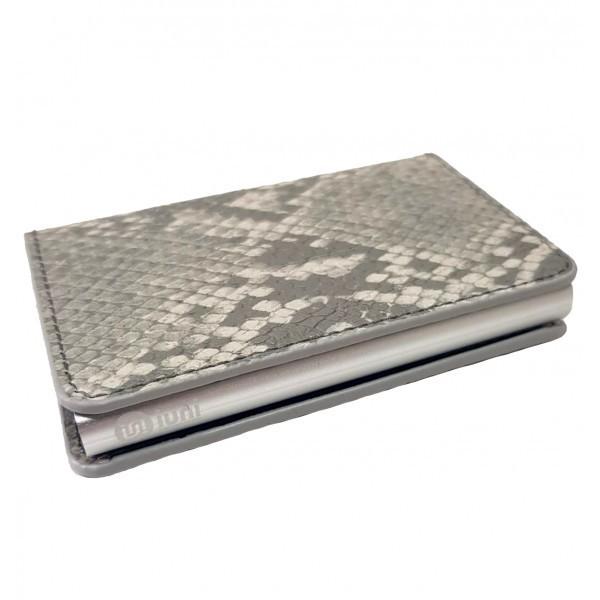 Portofel unisex, port card iUni P1, RFID, Compartiment 6 carduri, Gri Print