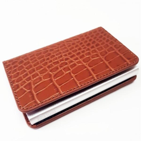 Portofel unisex, port card iUni P1, RFID, Compartiment 6 carduri, Maro Print imagine techstar.ro 2021