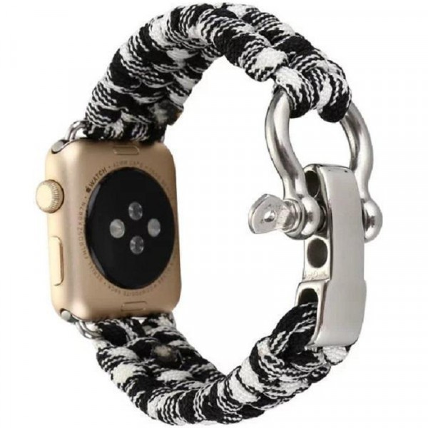 Curea pentru Apple Watch 38 mm iUni Elastic Paracord Rugged Nylon Rope, Black and White