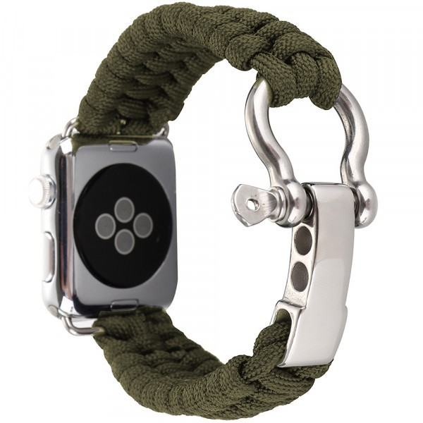 Curea pentru Apple Watch 42 mm iUni Elastic Paracord Rugged Nylon Rope, Green