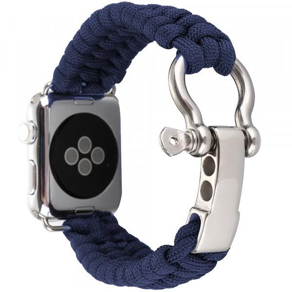 Curea pentru Apple Watch 42 mm iUni Elastic Paracord Rugged Nylon Rope, Midnight Blue imagine techstar.ro 2021
