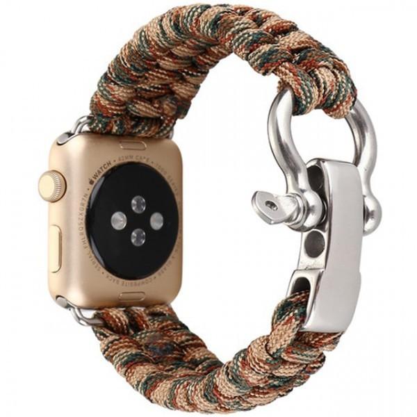 Curea pentru Apple Watch 38 mm iUni Elastic Paracord Rugged Nylon Rope, Brown