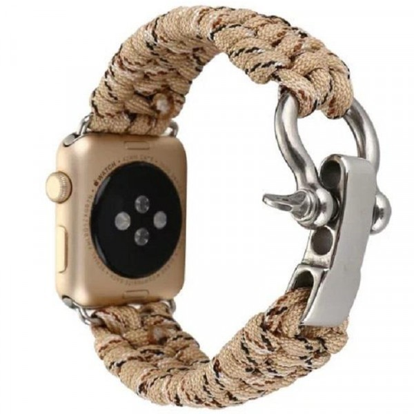 Curea pentru Apple Watch 38 mm iUni Elastic Paracord Rugged Nylon Rope, Cream