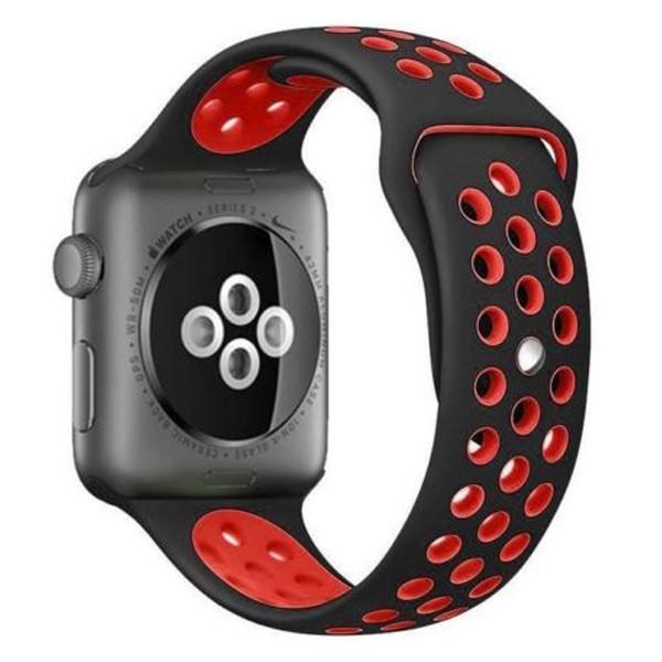 Curea pentru Apple Watch 42 mm Silicon Sport iUni Negru-Rosu