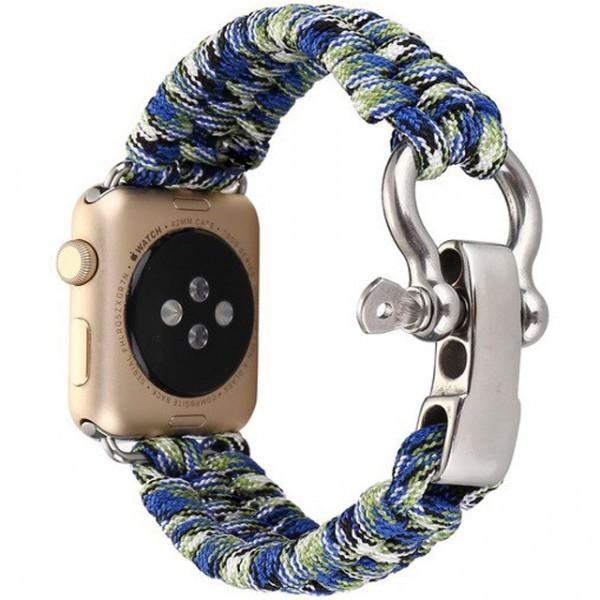 Curea pentru Apple Watch 38 mm iUni Elastic Paracord Rugged Nylon Rope, Blue and Green