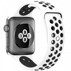 Curea pentru Apple Watch 42 mm Silicon Sport iUni Alb-Negru