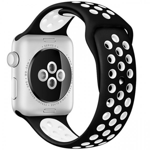 Curea pentru Apple Watch 38 mm Silicon Sport iUni Negru-Alb