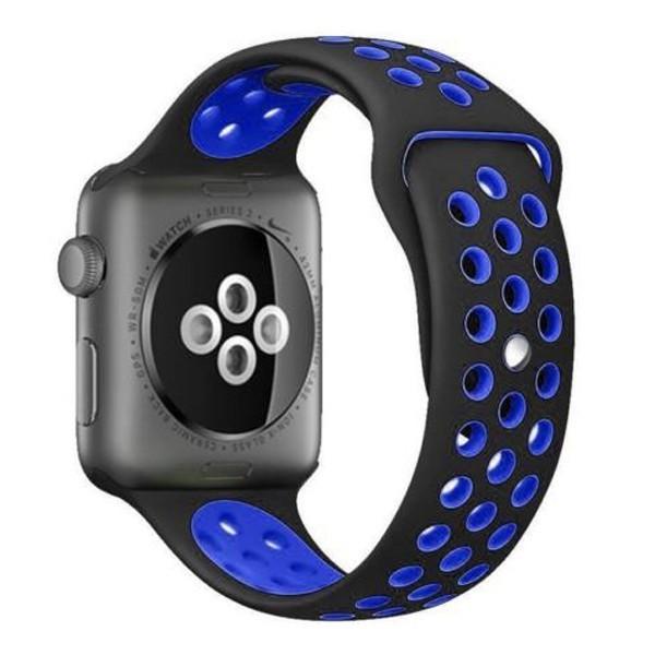 Curea pentru Apple Watch 42 mm Silicon Sport iUni Negru-Albastru