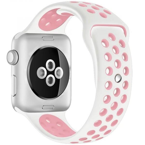Curea pentru Apple Watch 42 mm Silicon Sport iUni Alb-Roz pal imagine techstar.ro 2021