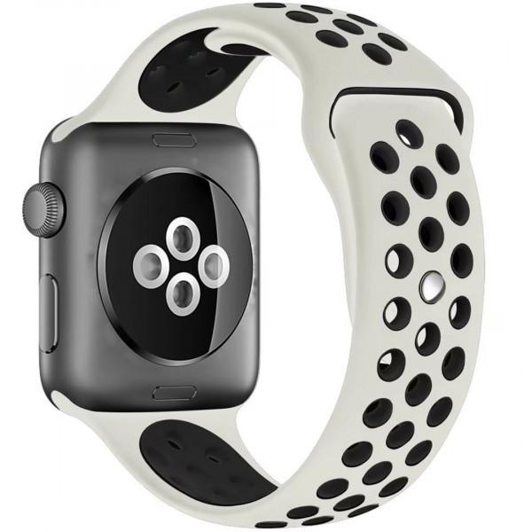 Curea pentru Apple Watch 42 mm Silicon Sport iUni Crem-Negru