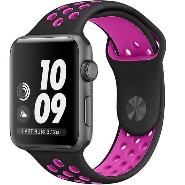 Curea pentru Apple Watch 38 mm Silicon Sport iUni Negru-Roz