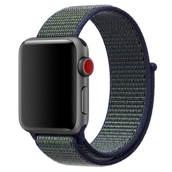 Curea pentru Apple Watch 38 mm iUni Woven Strap, Nylon Sport, Navy Blue-Green